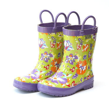 Pluie Pluie Girls Lime Flower Rain Boot