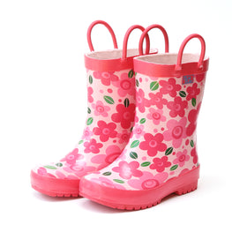 Pluie Pluie Girls Pink Flower Rain Boot