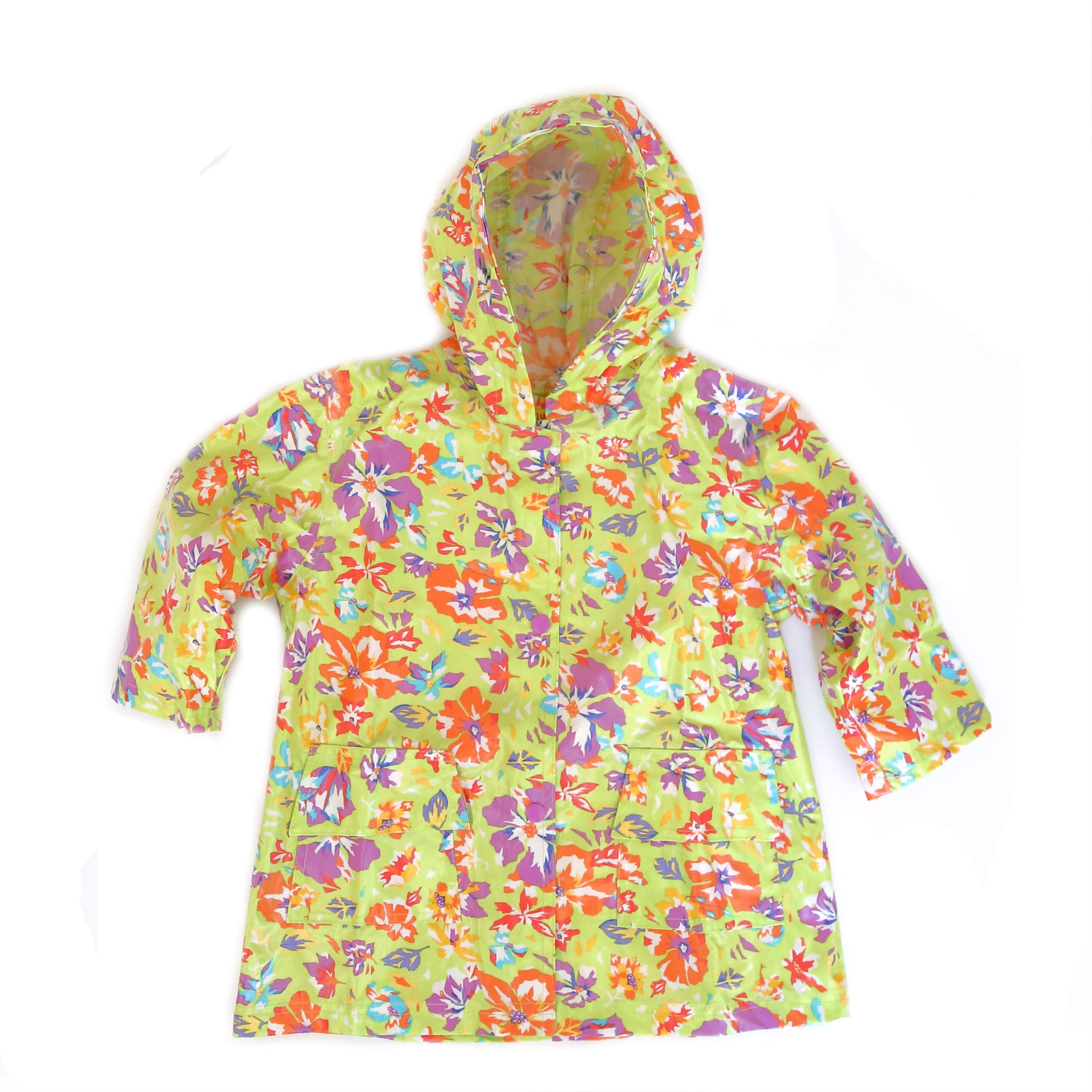Pluie Pluie Girls Lime Flower Raincoat