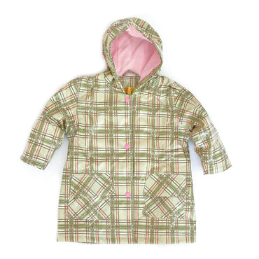 Pluie Pluie Girls Green Plaid Raincoat