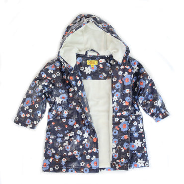 Pluie Pluie Girls Navy Flower Raincoat