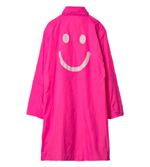 Nylon coat Fluor pink smiley face