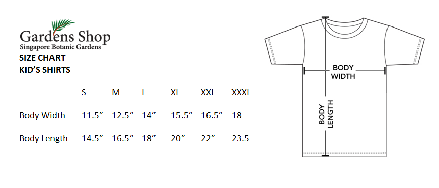 kids' apparel size chart