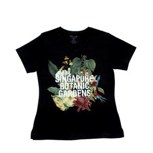 Botanical Ladies V-Neck Cotton T-shirt (S)