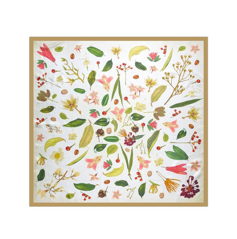 Botanical Print Silk Scarf (Gold)