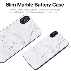 White Marble Back Battery Case for iPhone
