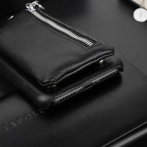 Luxury Leather Carry Case with Detachable Wristlet for iPhone