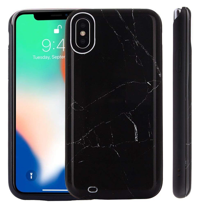 Black Marble Back Battery Case for iPhone