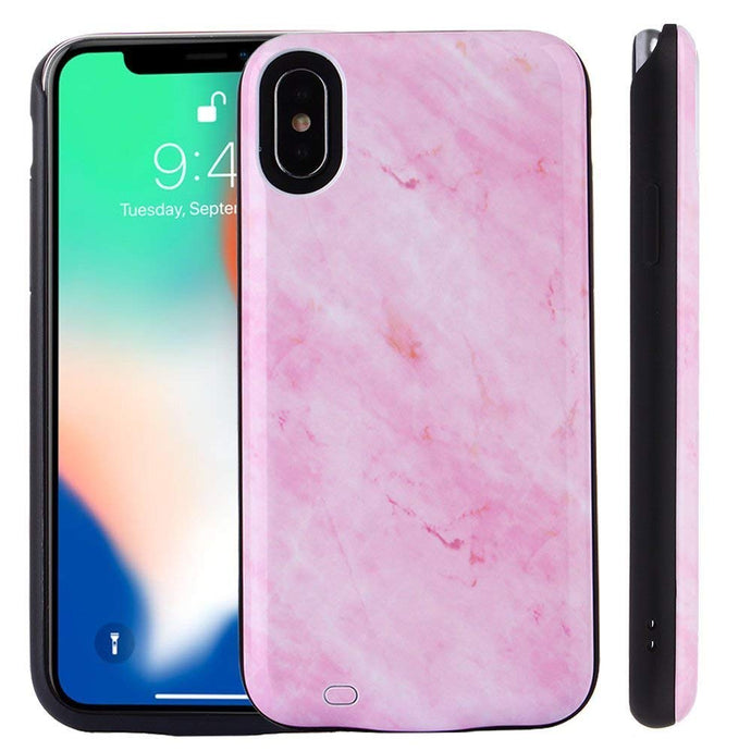 Pink Marble Back Battery Case for iPhone