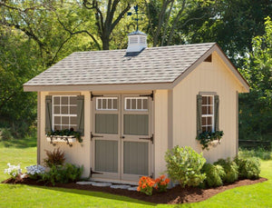 EZ-Fit 10'x12' Heritage Panelized Wood Shed Kit with Double Doors and Windows - MKSheds