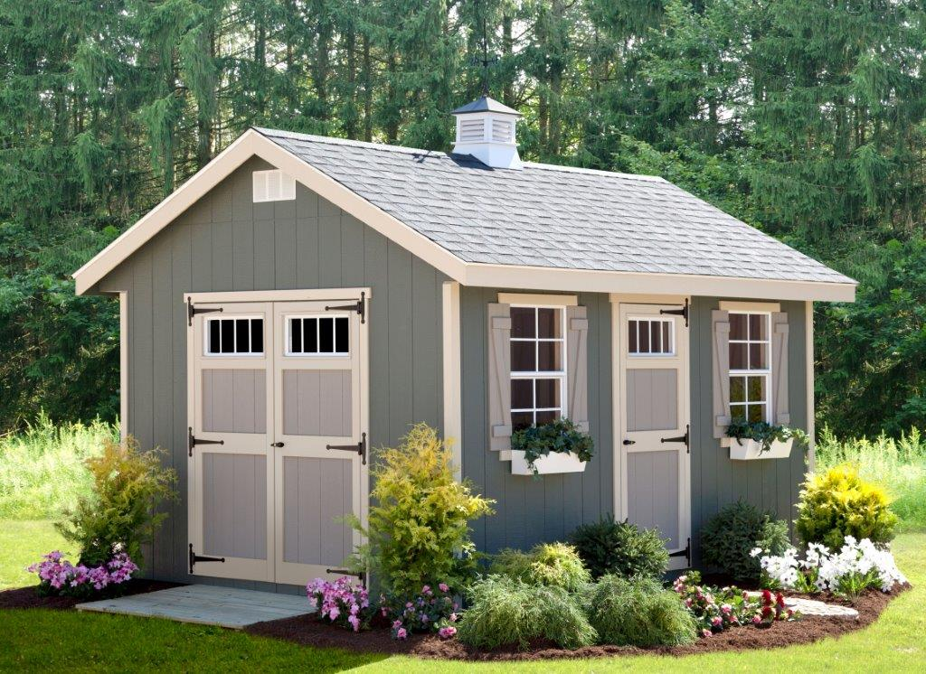 EZ-Fit 10'x14' Riverside Panelized Wood Shed Kit with Doors and Windows - MKSheds