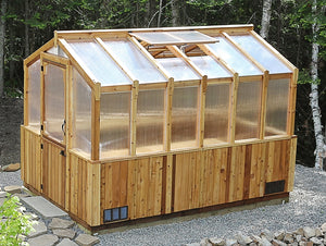 Outdoor Living Today 8'x12' Cedar Greenhouse (GH812) with Heat Activated Roof Window Vent - MKSheds