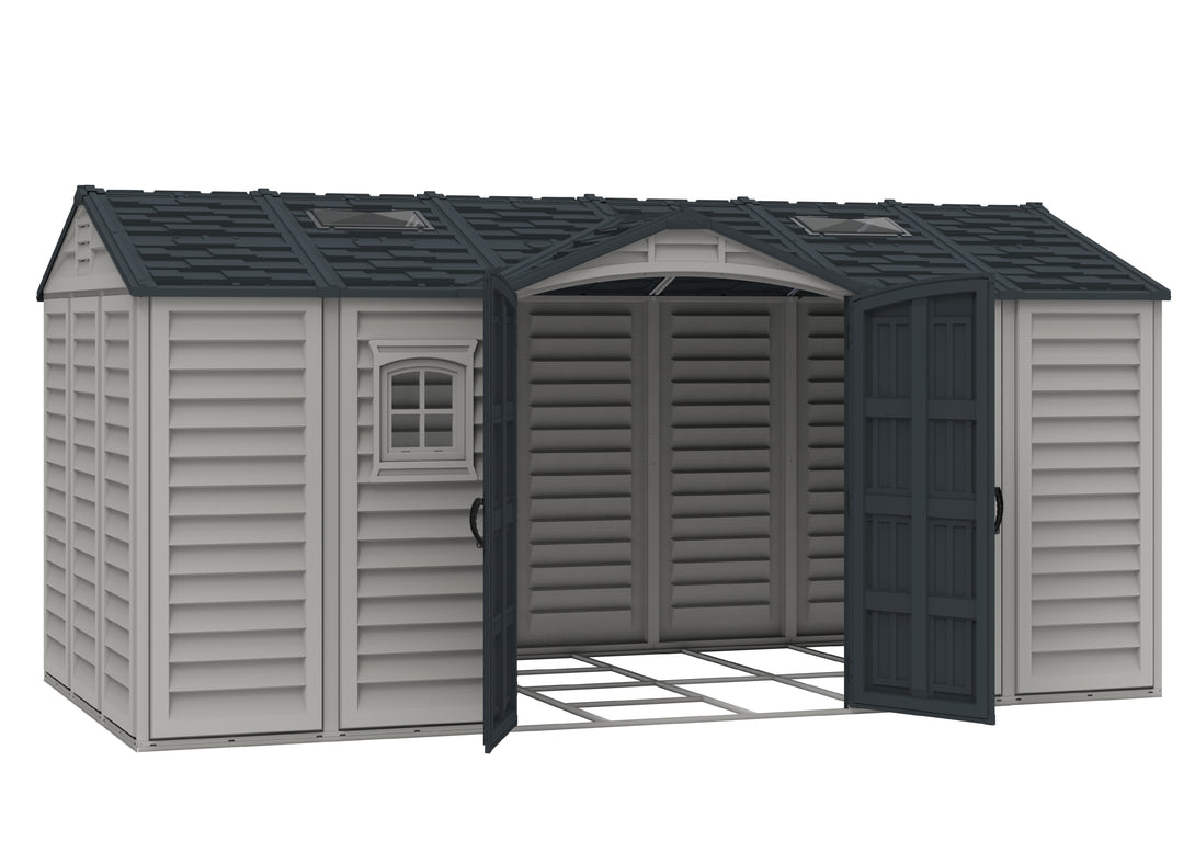 DuraMax Apex Pro 15'x8' Vinyl Shed with Floor Kit (40216) - MKSheds
