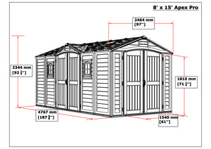 DuraMax 15'x8' Apex Pro Vinyl Shed with Floor Kit (40216)