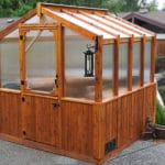 Outdoor Living Today 8'x8' Cedar Greenhouse (GH88) with Heat Activated Roof Window Vent - MKSheds