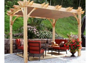 Outdoor Living Today 10'x10' Breeze Cedar Wood Pergola (BZ1010WRC) - 4 Post with Retractable Canopy - MKSheds