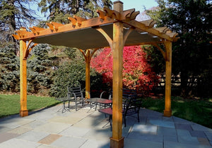 Outdoor Living Today 10'x12' Breeze Cedar Wood Pergola (BZ1012WRC) - 4 Post with Retractable Canopy - MKSheds