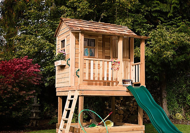 Outdoor Living Today 6'x6' Little Cedar Playhouse (LCP66SBOX) with Sandbox