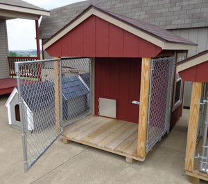 EZ-Fit 4'x7' Wood and Chain Link Fence Dog Kennel - MKSheds
