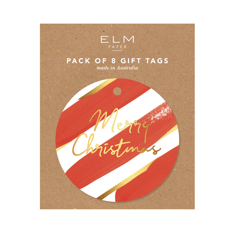 Red Stripe Pack of 8 Tags