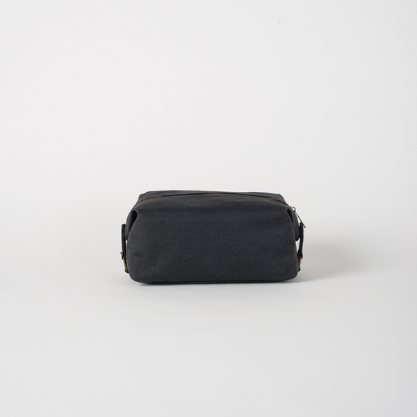 Cadet Waxed Canvas Wash Bag- Black