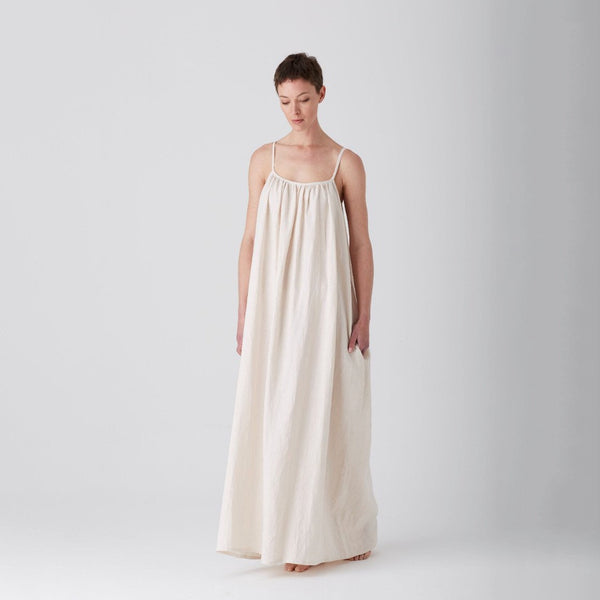 Pastel Parchment Iris Gathered Dress