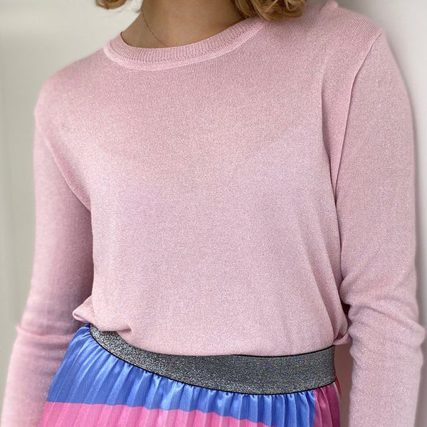 Long Sleeve Lurex Pale Pink