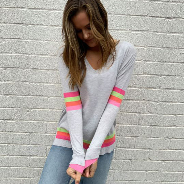 Rainbow Stripe - Grey Marle M/L