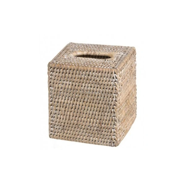 Square Tissue Box Bolder - White wash