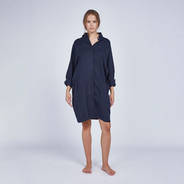 Navy Evie Shirt Dress Medium
