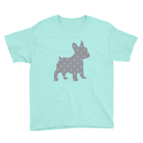 French Bulldog with Stars Youth Short Sleeve T-Shirt