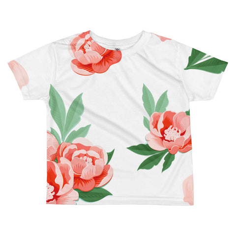 Peonies on White All-Over Kids Sublimation T-shirt