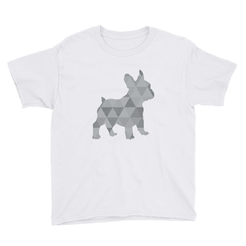 French Bulldog with Triangles Youth Short Sleeve T-Shirt