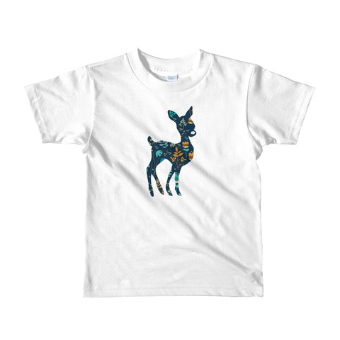 Deer Silhouette and Floral Pattern Short Sleeve Kids T-shirt