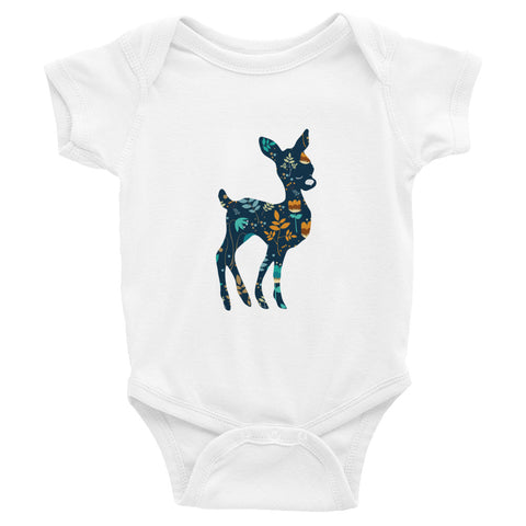 Deer Silhouette with Floral Pattern Infant Bodysuit