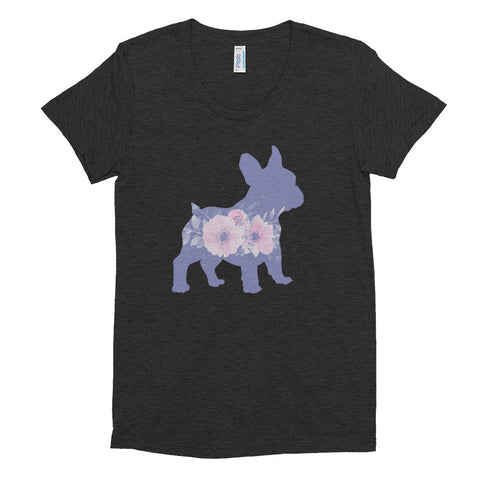 French Bulldog Floral Women's Crew Neck T-shirt