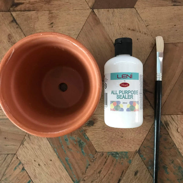 Terracotta Pot All Purpose Sealer and Paintbrush