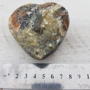 Septarian heart with Calcite  Druzy