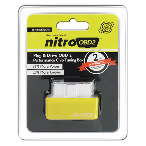 NitroOBD2 Chip Tuning Box Power Fuel Optimization Device for Benzine Cars - Yellow