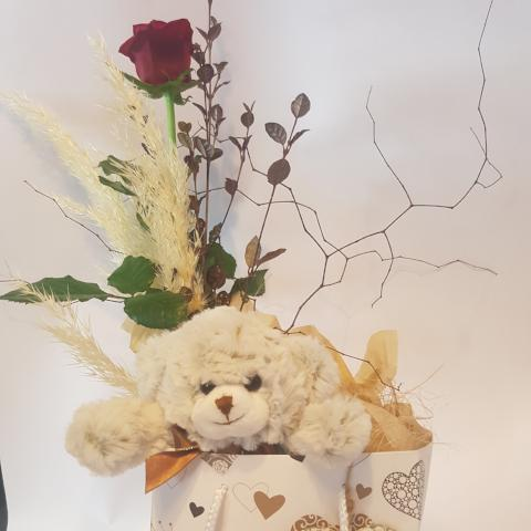Teddy bear gift bag with ceramic heart