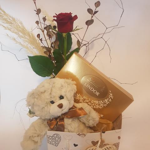 Teddy bear gift bag with chocolates