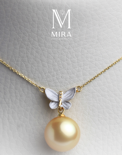 mira south sea pearl pendant 18k gold butterfly