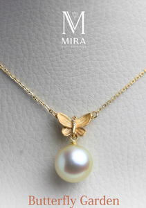 pearl pendant 18k gold butterfly