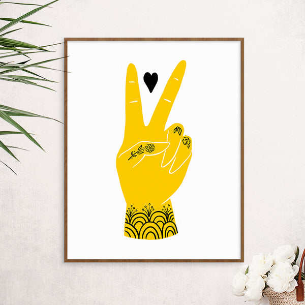 Peace and Love Art Print in Yellow