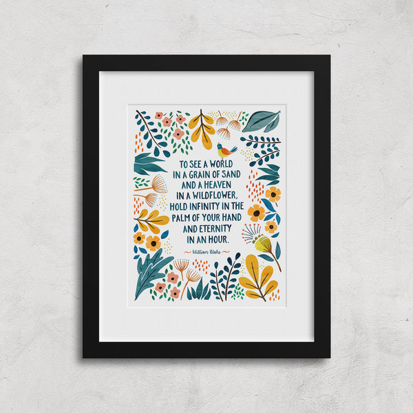 William Blake Poem - Floral Art Print