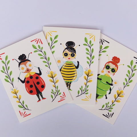 Bug Ladies - Set of 6 notecards
