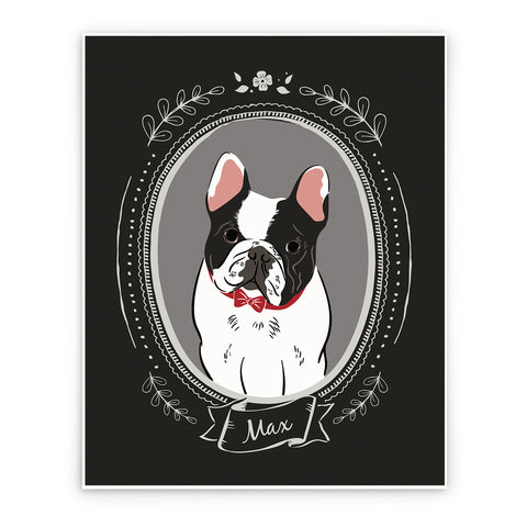 Custom Pet Portrait - vintage style w/name