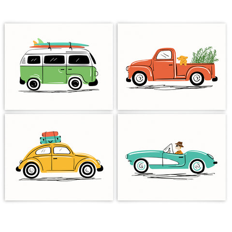 Vintage Cars Art Prints Set of 4