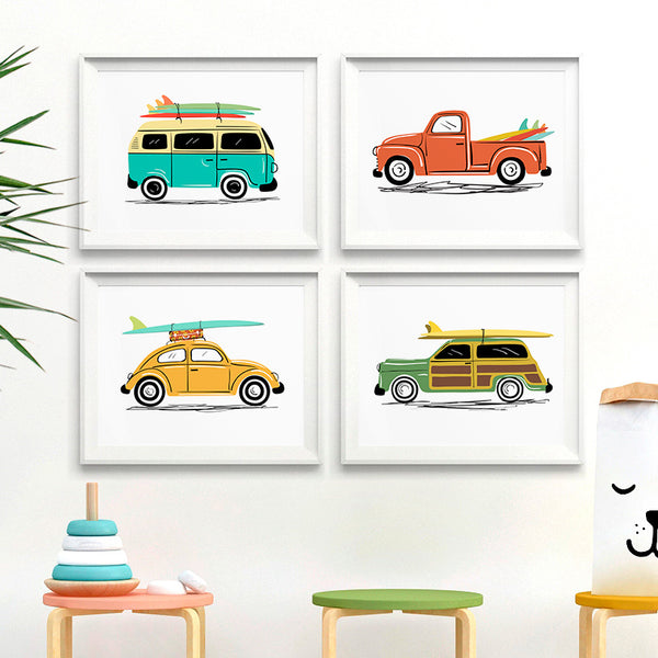 Vintage Surf Cars Art Prints Set of 4