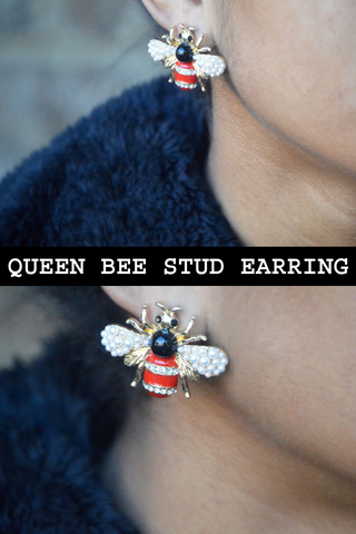 When I think of a Queen Bee, I think of a woman who sits pretty but if you test her she's liable to sting, in a matter of seconds.  🐝🐝 This earring is so unique with red, black and gold colors. It's embellished with crystals and pearls--giving you the best of both worlds. #HandmadeJewelry #FineJewelry #Earring